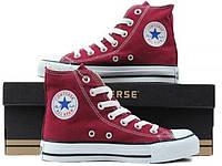 Кеди Converse Style All Star Бордові високі (37 р.) Тотальний розпродаж