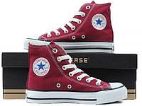 Кеды Converse Style All Star Бордовые высокие (38 р.) Тотальная распродажа