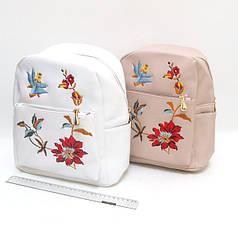 """FMG-2802 Рюкзак кожа с вышивкой """"Цветы"""" 30*26*11см, mix2"""