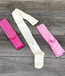 Дитячі колготи бавовна ЧЕБУРАШКА ажурні в квадратик з бантиком для дівчат 6 шт. в уп. мікс 3х кольорів