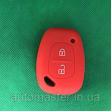 Чехол на ключ Рено Трафик Renault Trafic , Kangoo,Master 2 кнопки красный