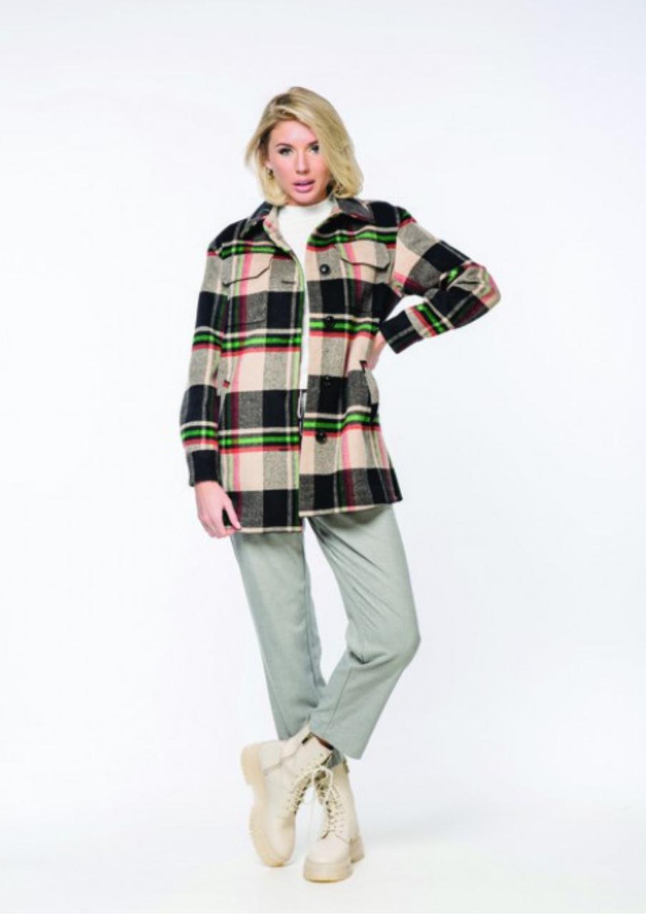 Стильне демісезонне жіноче пальто сорочка в клітку М 718 44