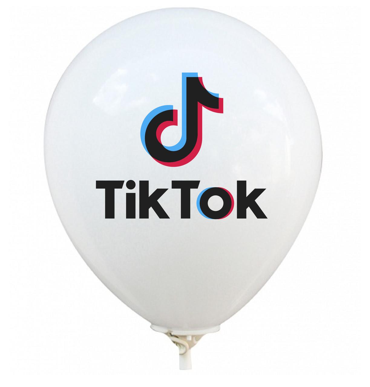 """Латексна кулька 12"""" біла малюнком """"TikTok"""" (BelBal)"""
