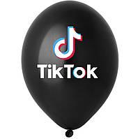 """Латексна кулька 12"""" чорна  малюнком """"TikTok"""" (BelBal)"""