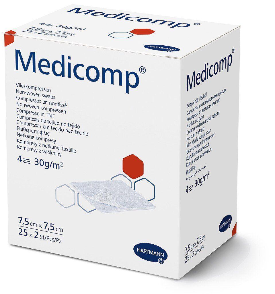 Medicomp 7,5 х 7,5 см - серветки з нетканого матеріалу стерильні 2х25шт