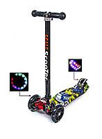 Детский самокат MAXI Joker Черные светящиеся колеса