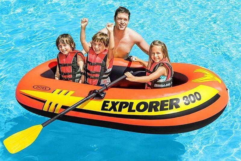 """Лодка надувная Intex 58332 """"EXPLORER 300"""" с пластиковыми веслами и насосом"""