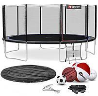 Батут для дома до 150 кг  с внешней сеткой Hop-Sport 16ft (488cm)  черно-синий