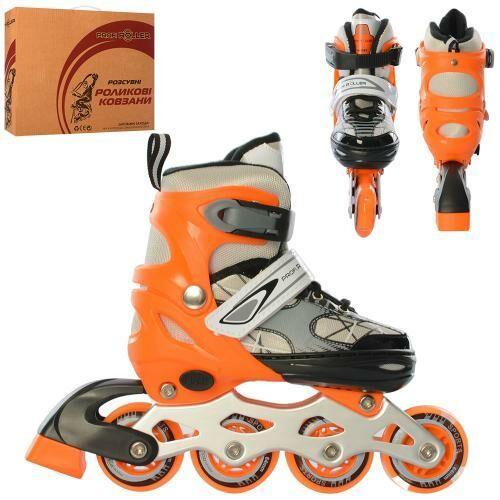 Роликовые коньки с регулировкой размера с 31 по 34, бесшумными полиуретановыми колесами A 4141-S-OR, оранжевые