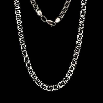 Серебряная цепочка, 600мм, 28 грамм, Арабский бисмарк, чернение, фото 2