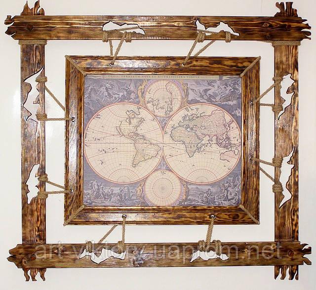 Картина в двойной деревянной раме.