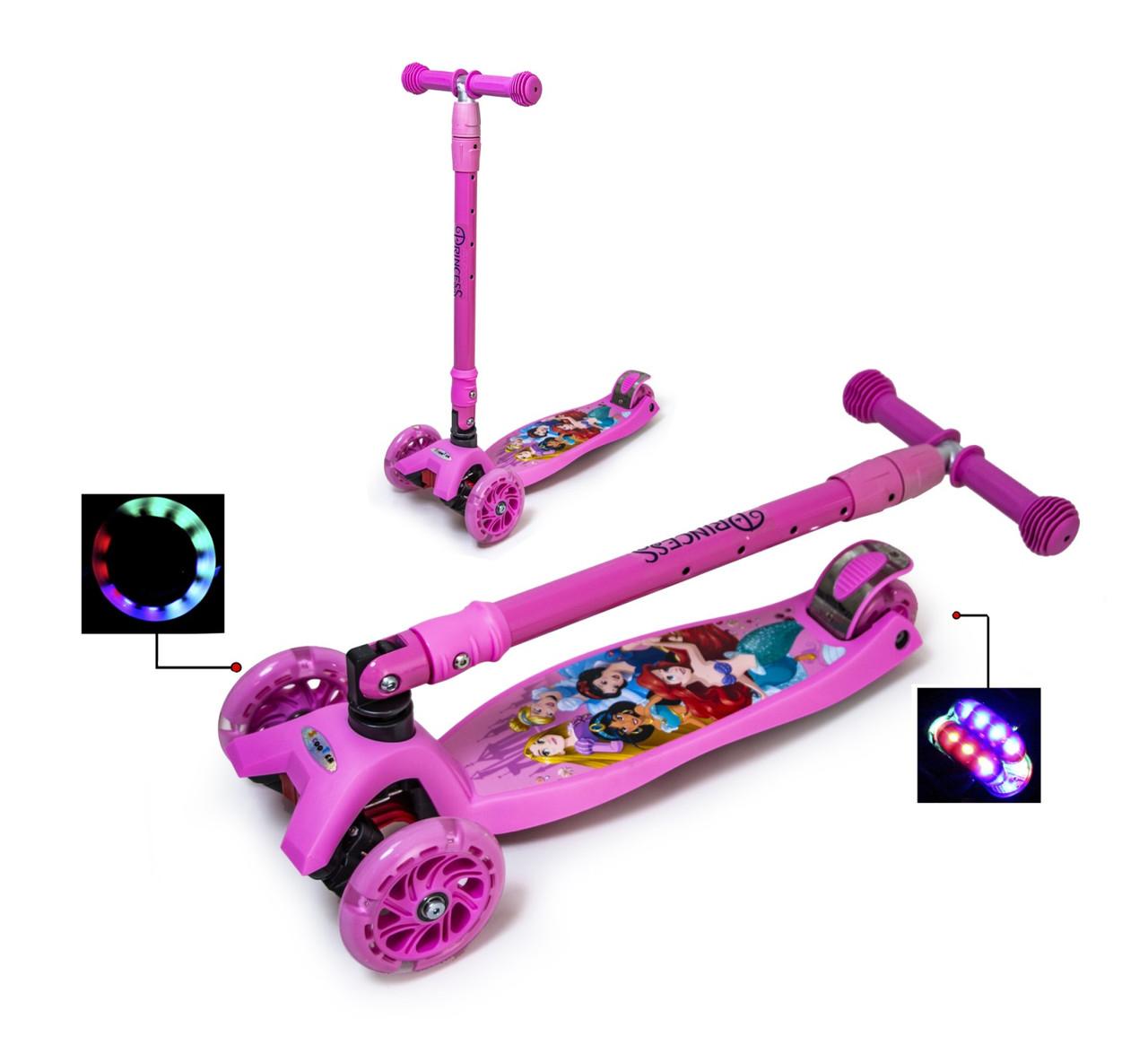 Самокат Maxi Scooter Disney. Русалочка Аріель з нахилом керма і складною ручкою