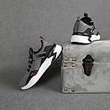 Мужские кроссовки Puma весна-осень-лето демисезонные в сетку серые. Живое фото. Реплика, фото 5