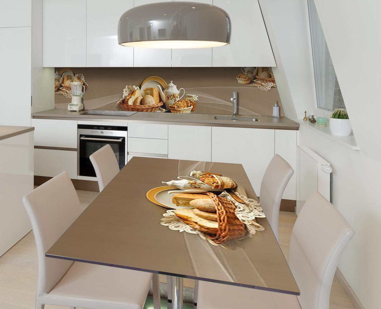 Наклейка 3Д вінілова на стіл Zatarga «Запашний хліб» 650х1200 мм для будинків, квартир, столів, кофеєнь, кафе