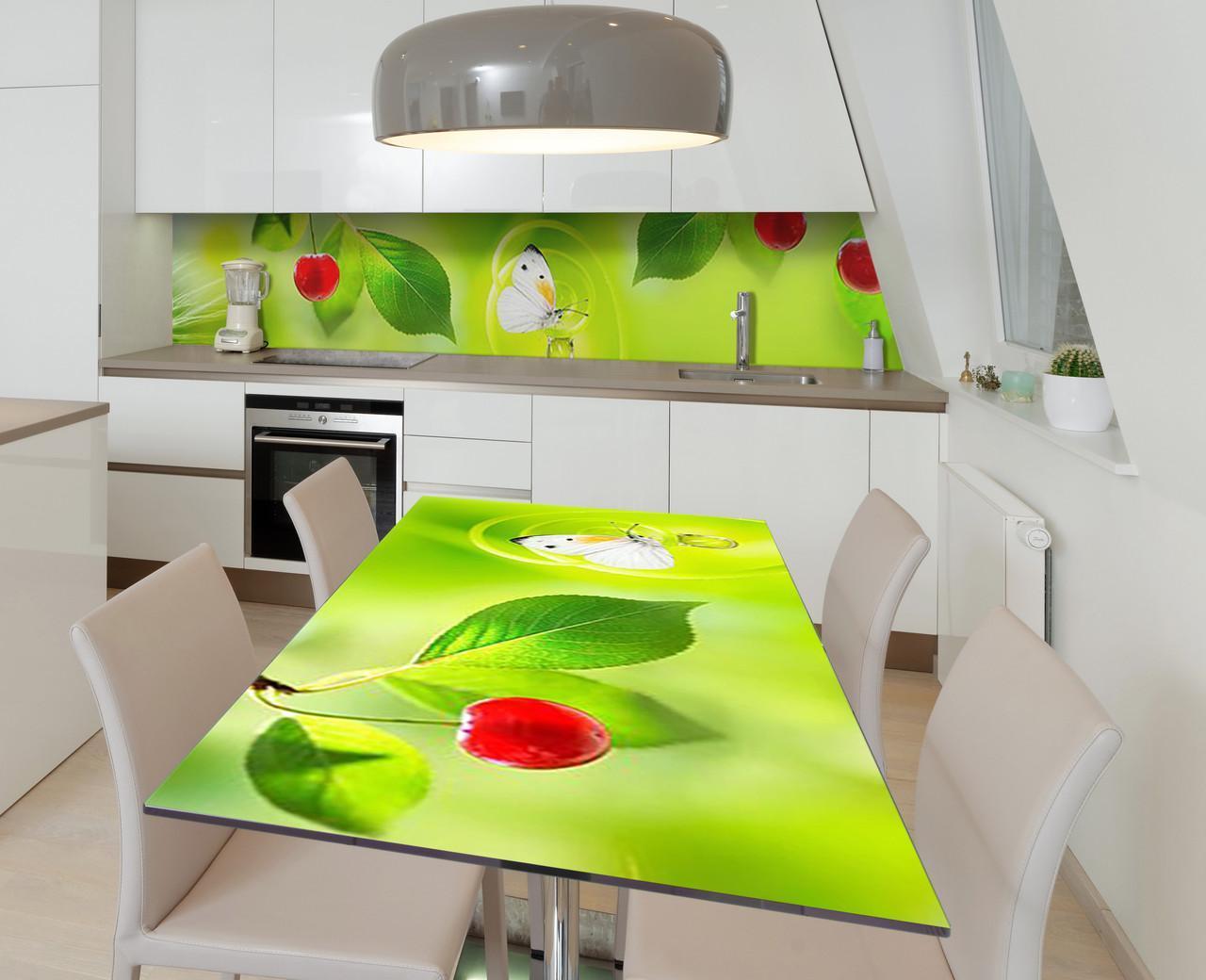 Наклейка 3Д вінілова на стіл Zatarga «Вишневе літо» 600х1200 мм для будинків, квартир, столів, кофеєнь, кафе