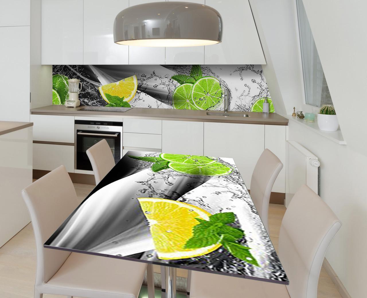 Наклейка 3Д виниловая на стол Zatarga «Брызги цитруса» 650х1200 мм для домов, квартир, столов, кофейн, кафе