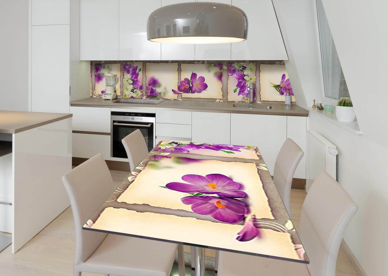 Наклейка 3Д вінілова на стіл Zatarga «Прекрасний едельвейс» 650х1200 мм для будинків, квартир, столів, кофеєнь,