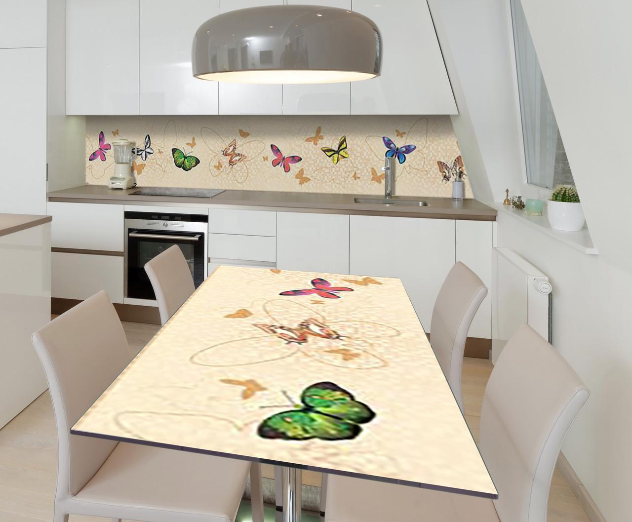Наклейка 3Д вінілова на стіл Zatarga «Політ веселки» 600х1200 мм для будинків, квартир, столів, кофеєнь, кафе