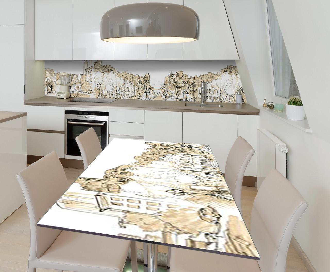 Наклейка 3Д вінілова на стіл Zatarga «Шепіт міста» 600х1200 мм для будинків, квартир, столів, кофеєнь, кафе