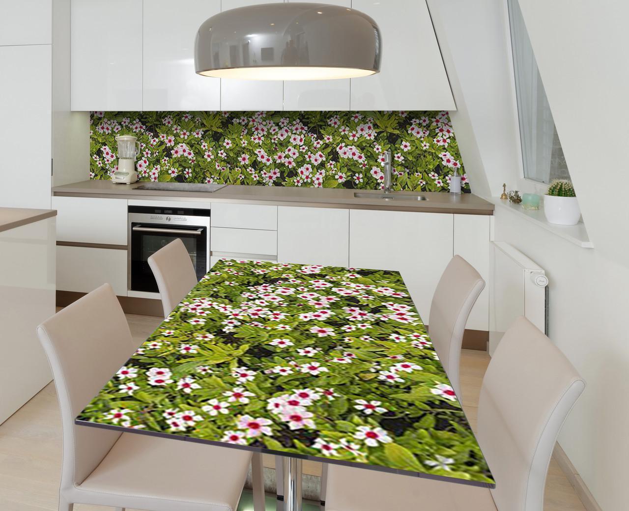 Наклейка 3Д виниловая на стол Zatarga «Цветочное изумление» 650х1200 мм для домов, квартир, столов, кофейн,