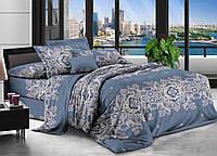 Полуторный комплект постельного белья Вензель на синем 145х215 см из полиэстера