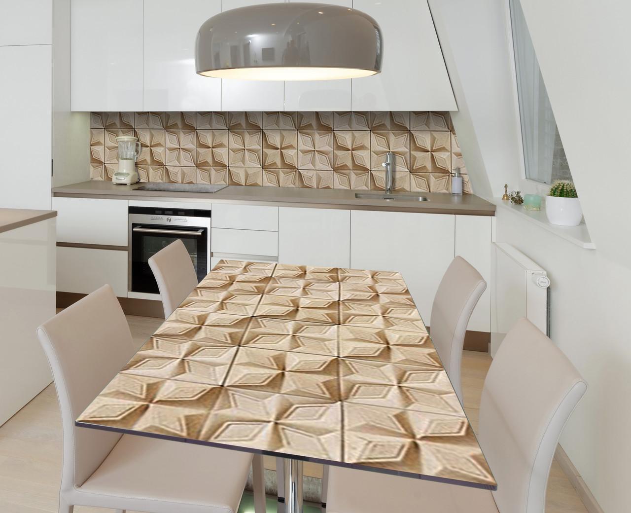 Наклейка 3Д вінілова на стіл Zatarga «Четырелистник кам'яний» 600х1200 мм для будинків, квартир, столів, кофеєнь,