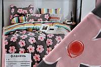 """Полуторна постільна білизна """"Фланель"""" - Рожевий квіточку"""