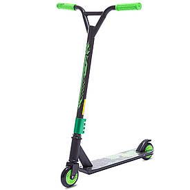 Самокат для трюків з пластиковими колесами SK-300B, Чорно-зелений