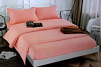 Полуторна постільна білизна страйп-сатин рожеве