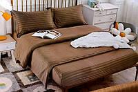 Полуторна постільна білизна страйп-сатин коричневе
