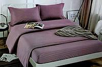 Полуторна постільна білизна страйп-сатин фіолетове