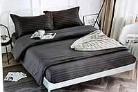 Полуторна постільна білизна страйп-сатин чорне