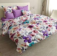 Сатиновое постельное белье Евро размера - Цветы