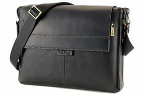 """Сумка мужская кожаная Tom Stone 504 С-В для ноутбука 13,3"""" черная + кожаный картхолдер в подарок"""