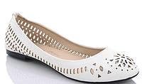 Женские балетки туфли ,белые летние с перфорацией, размер Только 38