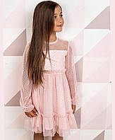 Платье детское нарядное пудровое, с длинным рукавом, размер 122