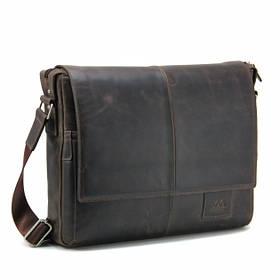 """Сумка мужская кожаная Tom Stone 5043 C-BR для ноутбука 15,6"""" коричневая +кожаный картхолдер в подарок"""