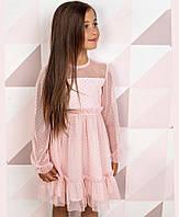 Платье детское нарядное пудровое, с длинным рукавом, размер 134