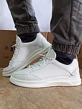 Комфортные кожаные белые туфли под кроссовки на платформе Rondo