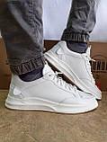 Комфортные кожаные белые туфли под кроссовки на платформе Rondo, фото 8
