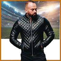 Стеганная мужская черная куртка бомбер весна осень кож зам без капюшона
