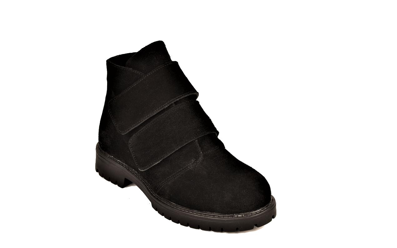 Жіночі замшеві черевики демісезонні на липучках чорні 233117
