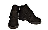 Жіночі замшеві черевики демісезонні на липучках чорні 233117, фото 4