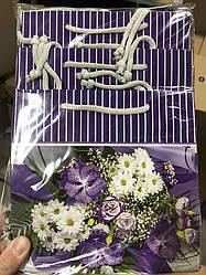 Подарунковий паперовий пакет ЧАШКА 16*16*8 см Кольоровий мікс