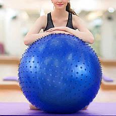 Мяч для фитнеса с массажными шипами d- 65 см. Массажный фитбол . Фитбол для тренировок с пупырышками