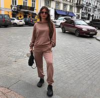 Прогулянковий жіночий спортивний костюм оверсайз трехнитка світшот з брюками, фото 1