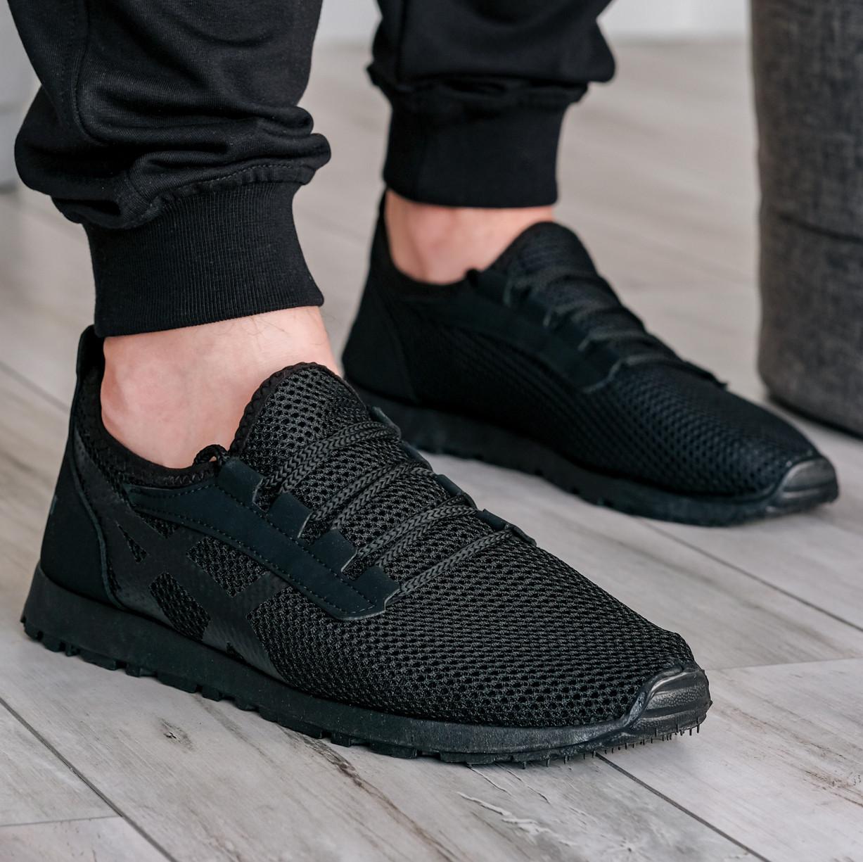 40 Розмір!!! Літні чоловічі кросівки сітка чорні (ПР-3302ч)