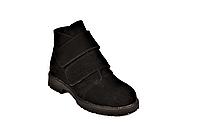 Ботинки подростковые демисезонные замшевые на липучке черные