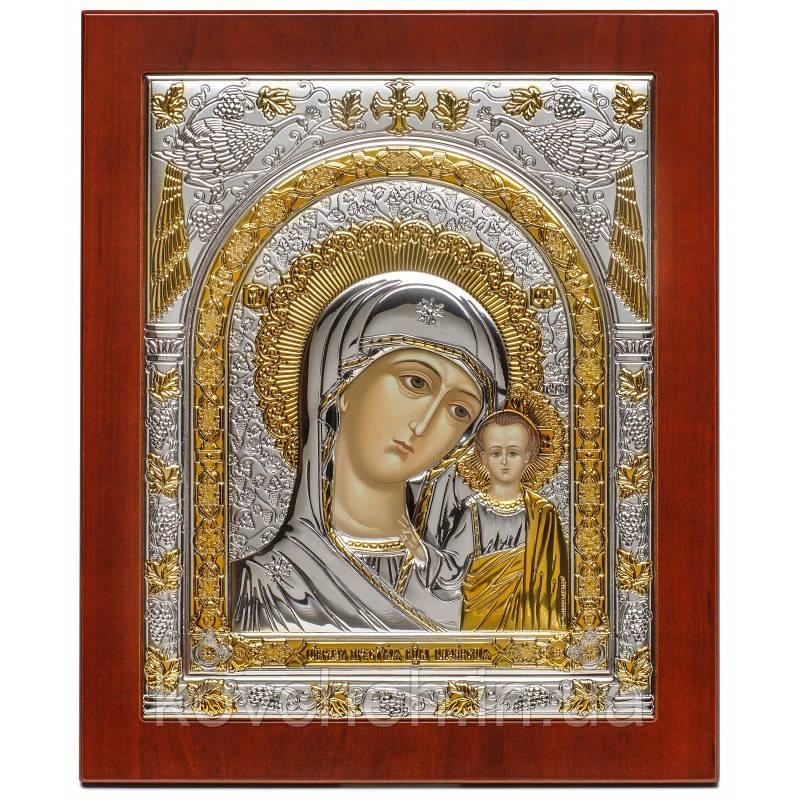 Казанська ікона Богородиця Грецька Срібна, розмір 15x18