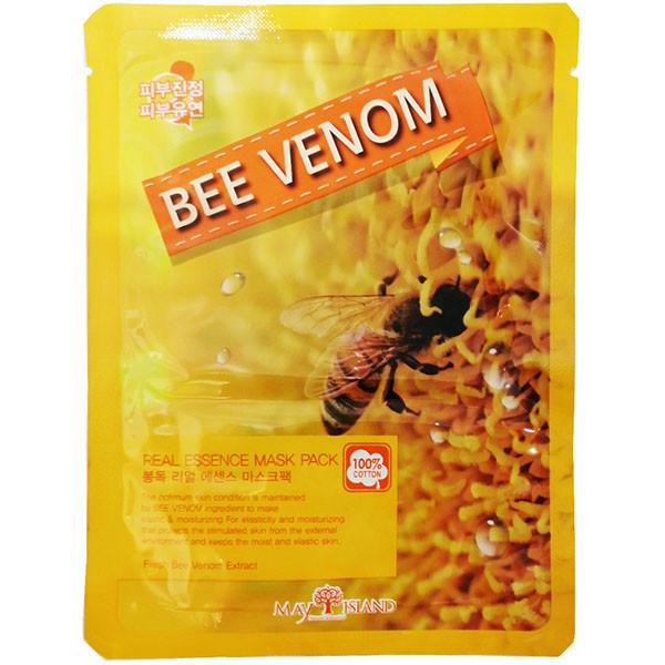 Тканинна маска з бджолиною отрутою May Island Real Essence Bee Venom Mask Pack